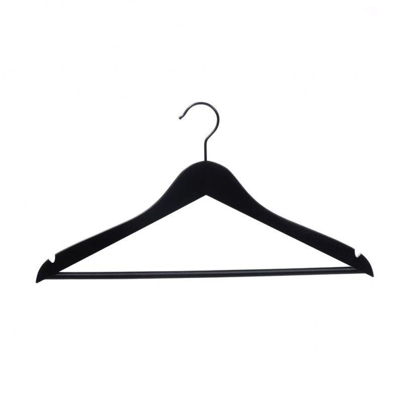 25 Black Wooden Hangers Helena 44 Cm