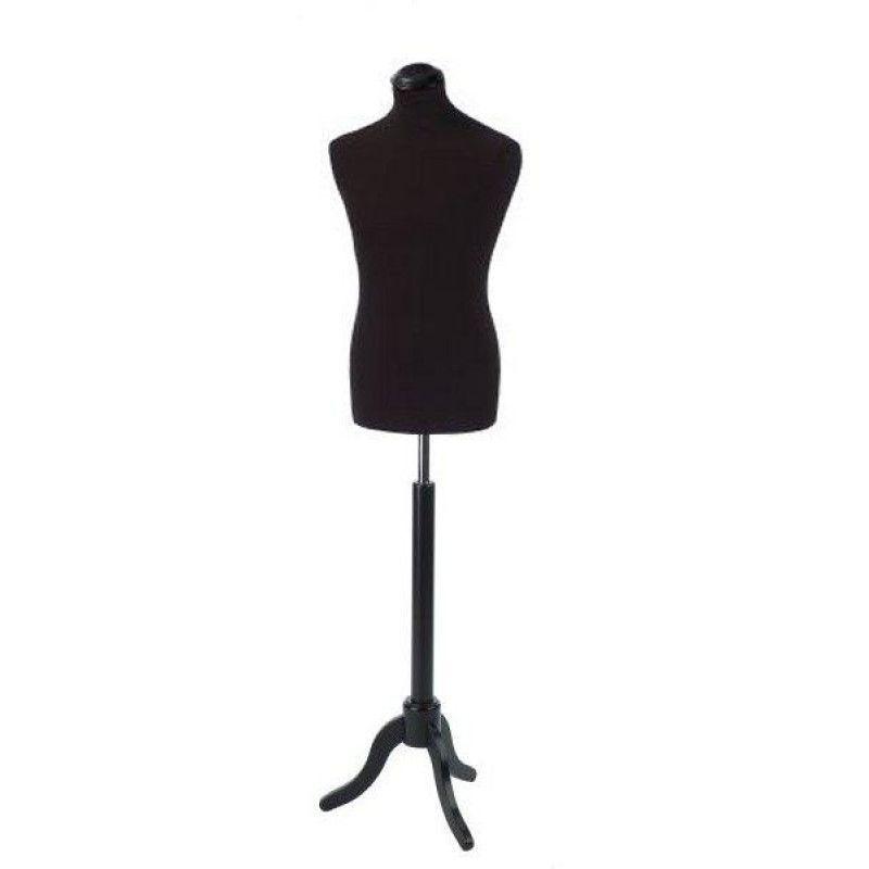 Buste en tissus homme coloris noir avec base en bois : Bust shopping