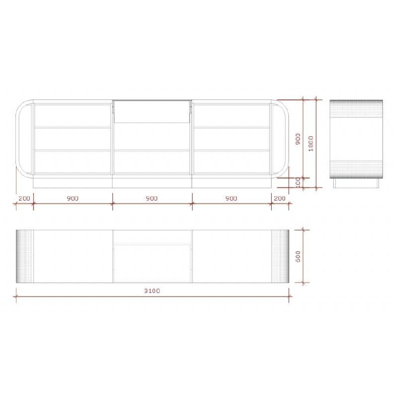 Image 2 : Comptoir magasin rouge et blanc ...