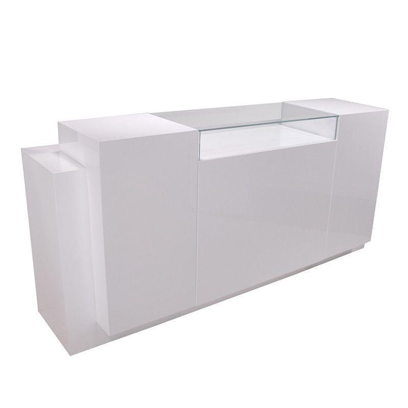Comptoir pour magasin blanc brillant S C-PPR-002-5-6 : Comptoirs shopping