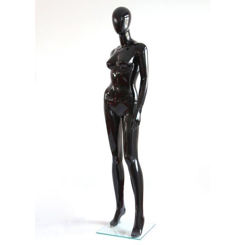 Mannequin femme noir brillant bras long du corps : Mannequins vitrine