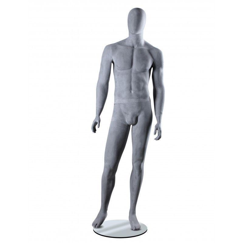 Mannequin homme tête abstraite finition ciment : Mannequins vitrine
