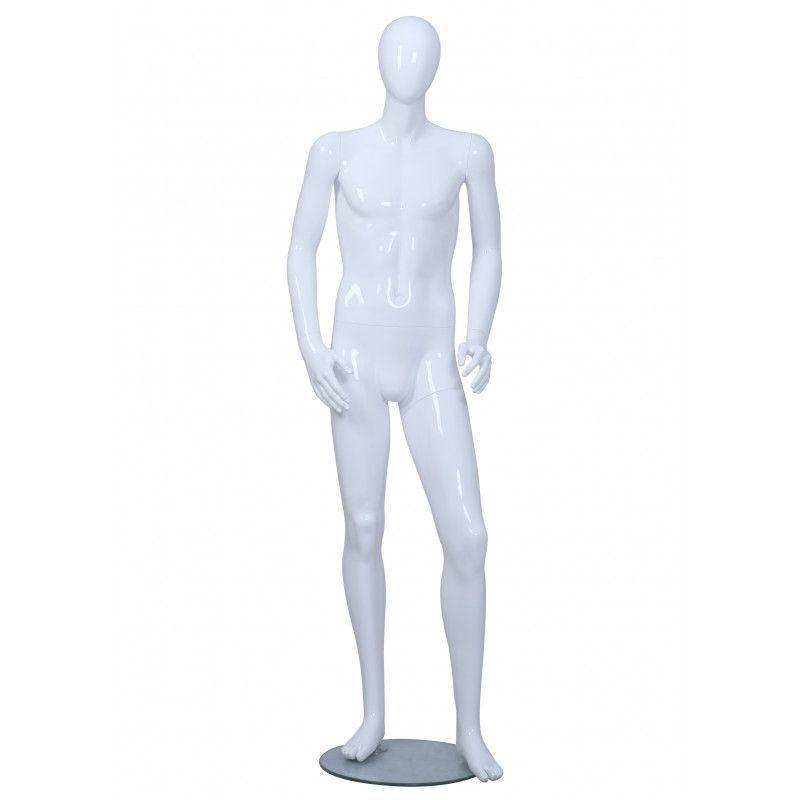 Mannequin vitrine homme blanc brillant : Mannequins vitrine