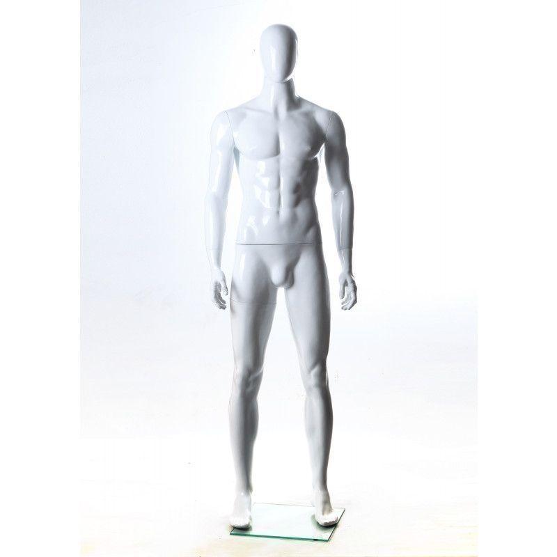 Mannequin vitrine homme tête abstraite position droite : Mannequins vitrine