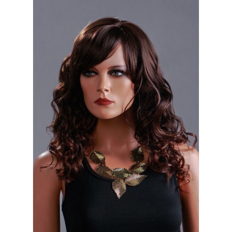 Perruque mannequin femme brune bouclee