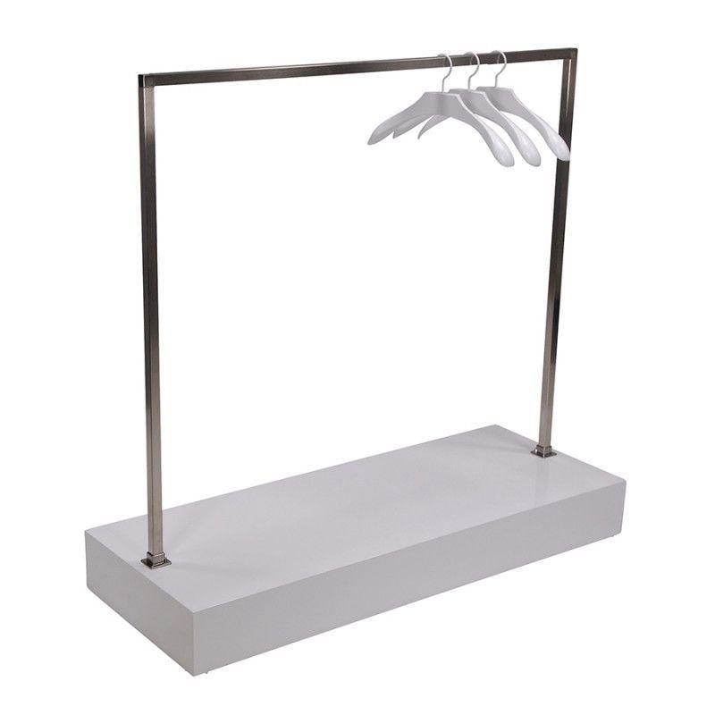 Portant droit avec podium blanc : Portants shopping