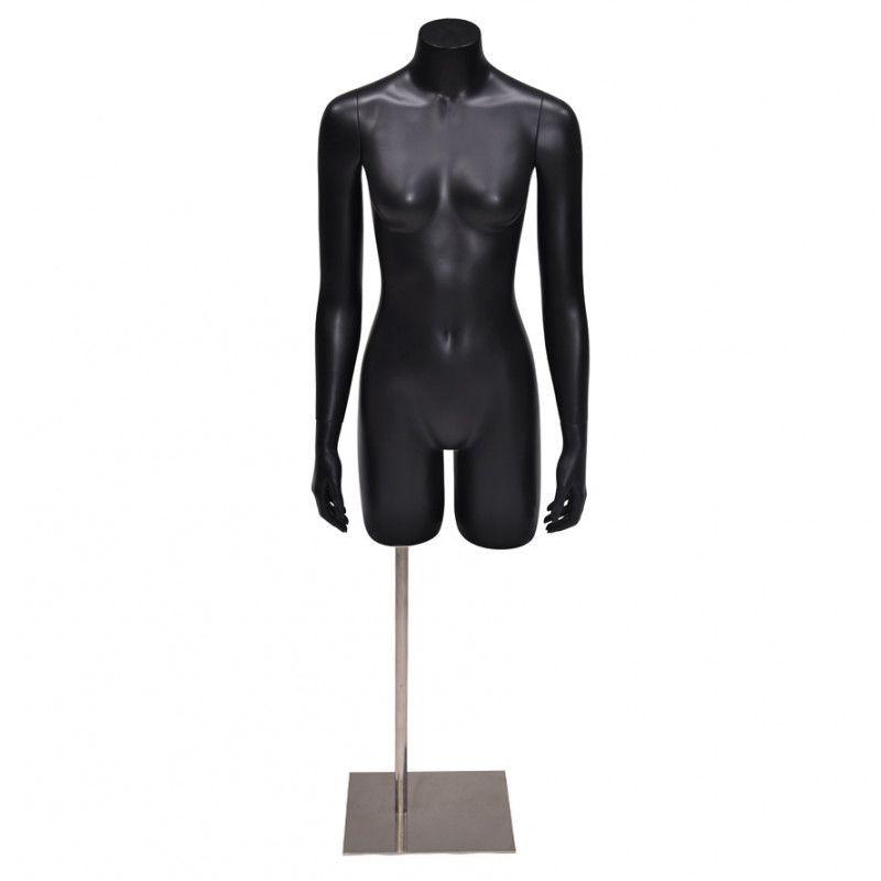 Torso mannequin femme noir avec bras et base : Bust shopping