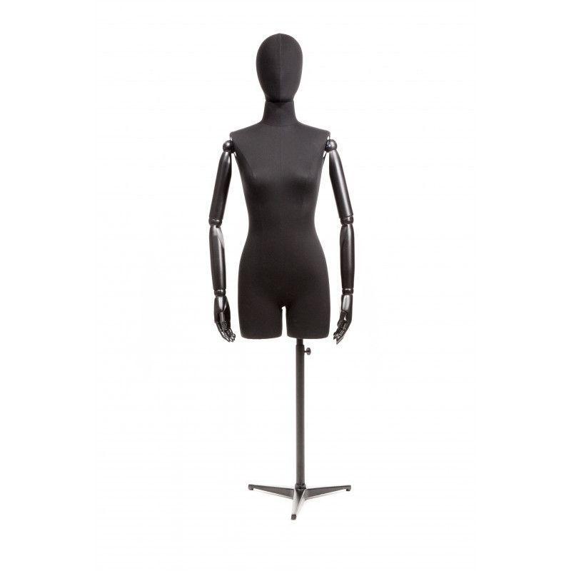 torso mannequin femme tissus noir et bras bois   Bust shopping 21b015f119d6