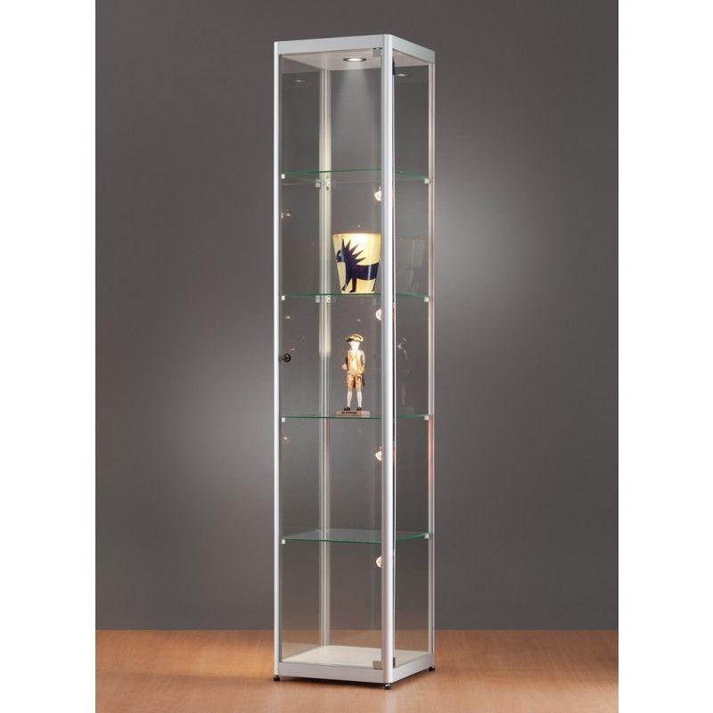 Vitrine colonne aluminium et verre 40 cm : Vitrine