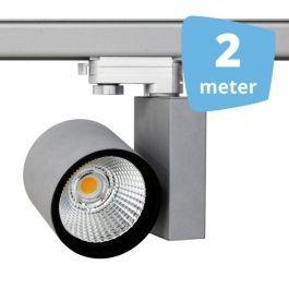 PROFESSIONELL SPOT LAMPEN - CLUSTER-SPOTS LED : 2x led schienenstrahler 30 w 3-phase spirit grau 2 m