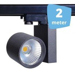 PROFESSIONELL SPOT LAMPEN : 2x led schienenstrahler 30 w 3-phase spirit schwarz 2 m