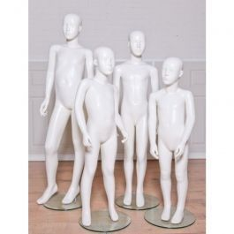 NOVEDAD : 4 maniquies ninos blanco brillante cabeza abstract