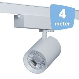 SPOTS POUR MAGASIN : 4 spots eos blanc led sur rail 4 metres`32w 3000 lumens