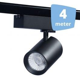 SPOTS POUR MAGASIN - SPOTS SUR RAIL : 4 spots eos noir led  rail 4 metres`32w 3000 lumens