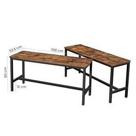 MATERIEL AGENCEMENT MAGASIN - CHAISES BANCS : Banc en bois style industriel - lot de 2