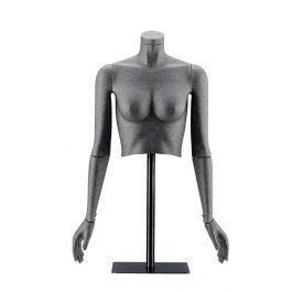 FEMALE MANNEQUINS - FLEXIBLE DISPLAY MANNEQUINS : Black flexible female bust