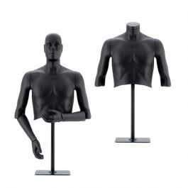 MALE MANNEQUINS - FLEXIBLE MANNEQUINS : Black flexible male bust