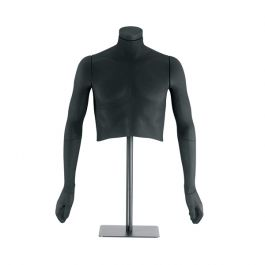 MALE MANNEQUINS - FLEXIBLE MANNEQUINS : Black flexible male bust with bi-eslastic fiber