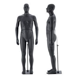 MALE MANNEQUINS - FLEXIBLE MANNEQUINS : Black flexible male mannequin