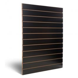 RETAIL DISPLAY FURNITURE - SLATWALL AND FITTINGS : Black grooved panel 10 cm