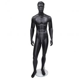 MALE MANNEQUINS : Black mat stylised with hair male mannequin
