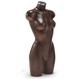 FEMALE MANNEQUIN BUST - PLASTIC BUSTS : Brown female bust form in plastic