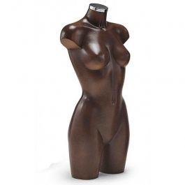 BUSTE MANNEQUIN FEMME - BUSTES PLASTIQUE : Buste femme en plastique marron avec tenon