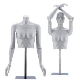 MANNEQUINS VITRINE FEMME - MANNEQUIN FLEXIBLE : Buste flexible femme gris