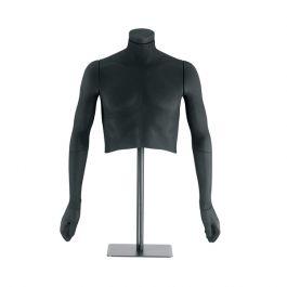 MANNEQUINS VITRINE HOMME - MANNEQUINS FLEXIBLES : Buste flexible homme noir avec tissus bi-elastique