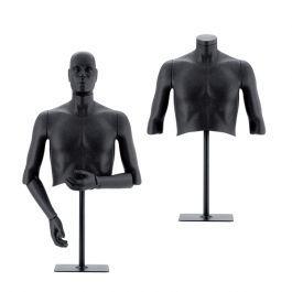 MANNEQUINS VITRINE HOMME - MANNEQUINS FLEXIBLES : Buste flexible homme noir