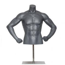 BUSTE MANNEQUIN HOMME - BUSTES TORSOS SPORT : Buste homme sport avec bras coudés gris