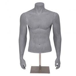 BUSTI DI MANICHINI UOMO - BUSTI : Busto uomo con braccion e base color grigio