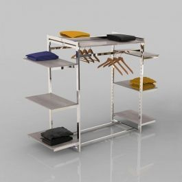 RETAIL DISPLAY FURNITURE - GONDOLAS FOR STORES : Clothing rail for store with chrome metal shelves