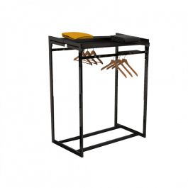 RETAIL DISPLAY FURNITURE - GONDOLAS FOR STORES : Clothing rail with black shelves for stores