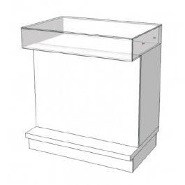COMPTOIRS MAGASIN : Comptoir blanc en verre 90 cm s c-pec-003