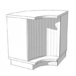 COMPTOIRS MAGASIN : Comptoir blanc très brillant avec tablettes ouvertes 90