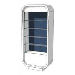 COMPTOIRS MAGASIN - COMPTOIRS COURBéS : Comptoir magasin étagère en verre