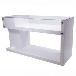COMPTOIRS MAGASIN : Comptoir pour magasin blanc plateau verre