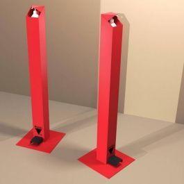 ENCAISSEMENT ET SECURITE MAGASIN - MATERIEL PROTECTION COVID : Distributeur gel hydroalcoolique à pied metal rouge