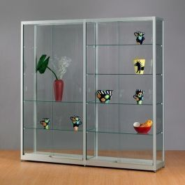RETAIL DISPLAY CABINET - SHOWCASES WITH LIGHTING : Double window showcase in glass 2 meter