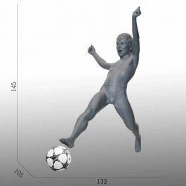 KINDER SCHAUFENSTERFIGUREN - SPORT KINDERSCHAUFENSTERFIGUREN : Fussball kinder schaufensterfiguren grau farbe