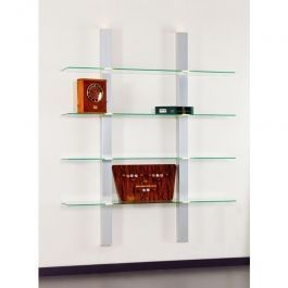 LADENAUSSTATTUNG - REGALE : Glasböden mit ständern aus weissem metall