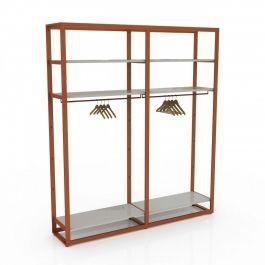 RETAIL DISPLAY FURNITURE - GONDOLAS FOR STORES : Gondola for clothes with white shelf copper
