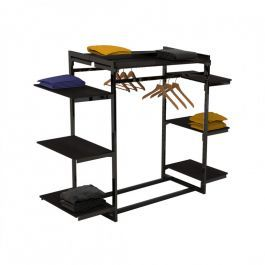 RETAIL DISPLAY FURNITURE - GONDOLAS FOR STORES : Clothing display store with black shelf