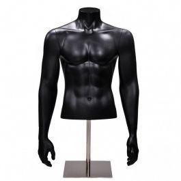 MALE MANNEQUIN BUST : Half male bust mannequin black finish with arms