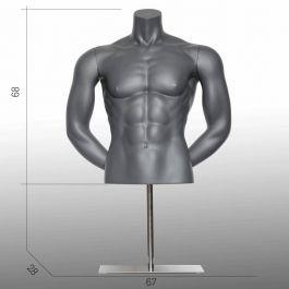 HERREN BüSTEN SCHAUFENSTERPUPPEN - SPORT TORSOS UND BüSTEN : Herren sport büste mit armen graue farbe