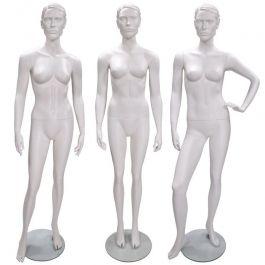 MANNEQUINS VITRINE FEMME - MANNEQUINS STYLISéS : Lot de 3 mannequin vitrine femme stylisé coloris blanc