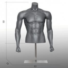 MALE MANNEQUIN BUST - SPORT TORSOS AND BUSTS : Male bust form with muscles and metal base