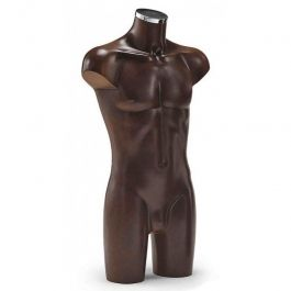 MALE MANNEQUIN BUST - PLASTIC BUSTS : Male buste brown finish without arms