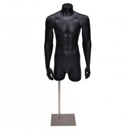 MALE MANNEQUIN BUST - MANNEQUIN TORSOS : Male mannequin bust with arms and metal base